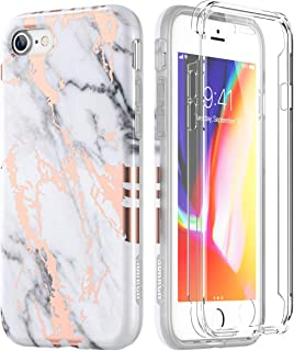 SURITCH Marble iPhone 8 Case/iPhone 7/iPhone Se 2020 Case, [Built-in Screen Protector] Full-Body Protection Hard PC Bumper + Shockproof Cover Compatible with Apple 7/8/iPhone Se 2020- White/Gold