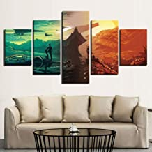 Prints On Canvas HD Frame 5 Panels Star Wars The Force Awakens Movie Modular Poster Picture For Living Room Modern Decor Wall Art,B,20×35×220×45×220×55×1