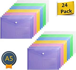 Acrux7 24 Pc A5 Envelopes Plastic Poly Envelopes Plastic Folders with Snap Button and Label Pocket Plastic Folders for School Home Work Office Assorted Color