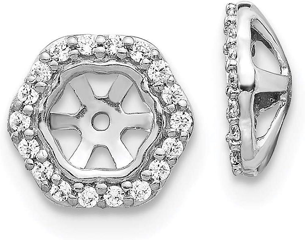 14k White Gold Hexagon Diamond Earring Jackets
