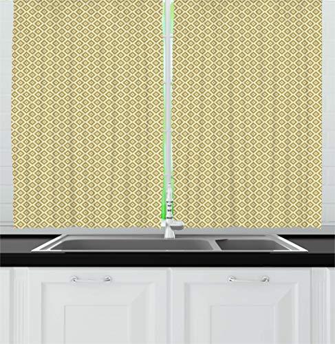 Ambesonne Retro Kitchen Curtains, Vintage Style Nostalgic Diamond Line Pattern Symmetrical Geometric Tile Design, Window Drapes 2 Panel Set for Kitchen Cafe Decor, 55' X 39', Yellow Cream