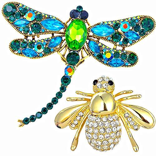 Broche de Cristal de Diamantes de Imitación - WENTS Abeja Libélula Broche para Decoración Mujer la Ropa Regalo de cumpleaños 2Pcs