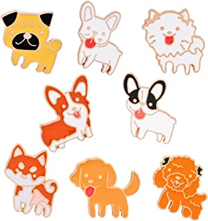 2689cee9c WINZIK Novelty Cartoon Brooch Pin Set 8pcs Cute Dog Puppy Animals Pattern  Lapel Pins Badges Ornaments