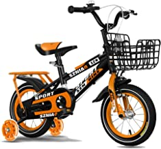 "Axdwfd Kids Bike 12"" 14"" Children's Bicycle, Suitable for Girls and Boys 2-5 Years Old, with Training Wheels and Handbrake, Red, Orange, Blue Bicycle"