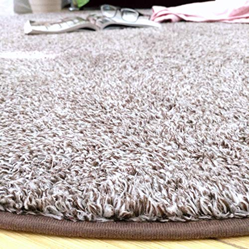 GLYY二重の色円形洗えるラグ和室カーペット短毛シャギー直径140cm丸型滑り止め付ホットラグマット対応ふかふか絨毯春夏オールシーズン使用通気性遮音折り畳み可能じゅうたんブラウン