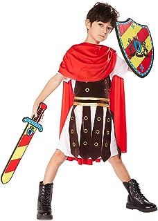 Boy's Gladiator Costume Halloween Spartan Roman Greek Warrior Toga Soldier
