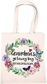 Funny Grandma Cotton Canvas 12 Oz Reusable Tote Bag | Grandma's Getaway Bag | Funny Grandma Gift for Birthday/Mother's Day...