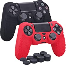YoRHa Studded Silicone Cover Skin Case for Sony PS4/slim/Pro Dualshock 4 controller x 2(black+red) With Pro thumb grips x 8