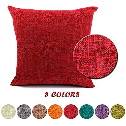 JT Federe per Cuscini Moda Vintage di Cotone Lino Divano Federa Cuscino Letto Geometria Rettangolari Cuscini e federe 50x50cm Rosso