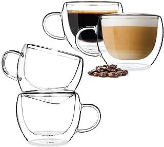 BOQO Lot de 4 tasses à café en verre, à double paroi isotherme, avec poignée, parfaites pour latte, cappuccino, sachets de...