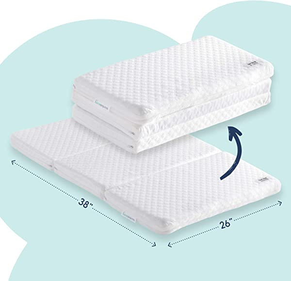 Tri Fold Pack N Play Mattress Pad With Firm For Babies Soft Toddlers Sides Portable Foldable Playard Mattress Playpen Mattress For Pack And Play Crib Includes Carry Case