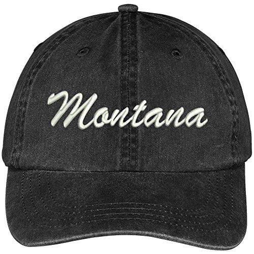 Trendy Apparel Shop Montana State Embroidered Low Profile Adjustable Cotton Cap - Black