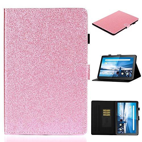 MDYHMC YXCY AYDD para Lenovo Tab M10 TB-X605F / X505 Glitter Brillante Polvo Funda de Cuero Horizontal Flip con Soporte y Ranura para Tarjeta (Color : Pink)