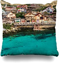 NBTJZT Square 18x18 in Pillow case Colorful Cute Attraction Il Mellieha Malta March Colourful Houses Anchor Bay Beautiful Boat Charming Decorative Zippered Cushion Case Home Decor Pillowcase