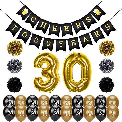 Konsait Pancartas de Banderines Cheers to 30 Years cumpleaños Globo Grande de Aluminio 30 Años, 6 Pom Poms Bola de la Flor, 20 Dorados y Negro Globos De Látex para Fiesta de Cumpleaños Decoracion