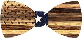 Walnut Wooden Bow Ties For Men Wedding Neckwear Set Accessories Usa Flag Handmade
