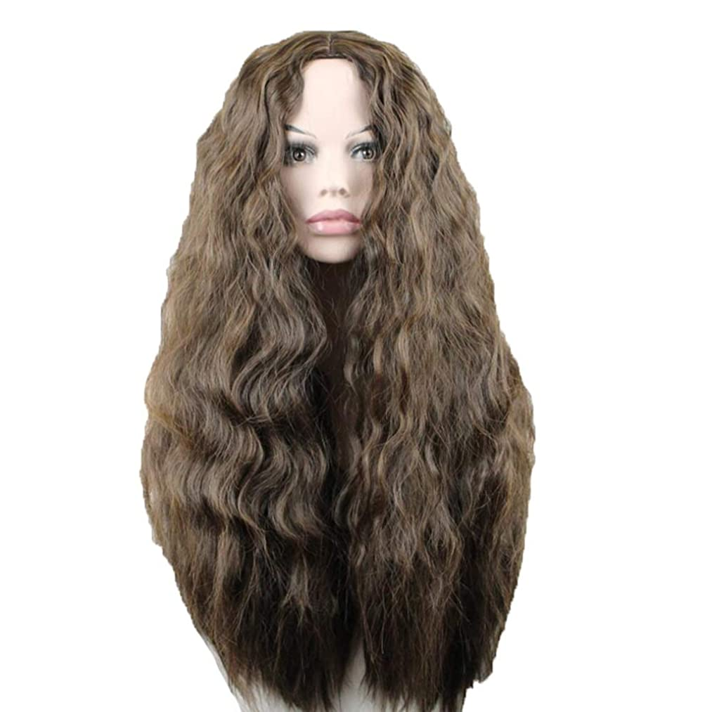 同級生フロンティア疑わしいかつら - ファッションレディースロングロール高温シルクウィッグパーティーロールハロウィン60cmブラウン (色 : Brown, サイズ さいず : 60 cm 60 cm)