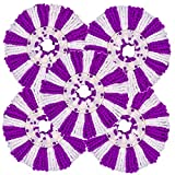 LEMNUY 5 Pack Microfiber Mop Head Replacement for 360 Spin Mop System/Hurricane/Mopnado, Universal Round 6.3 Size, Purple and White