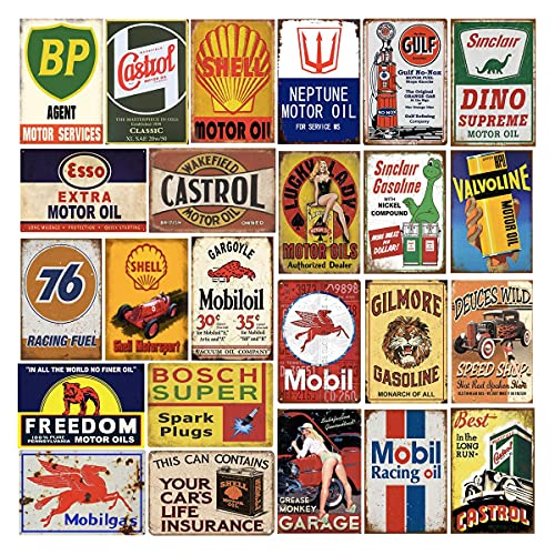 24 Pieces Gas and Oil Tin Signs, Retro Vintage Metal Sign for Home Man Cave Garage, 8x12 Inch/20x30cm