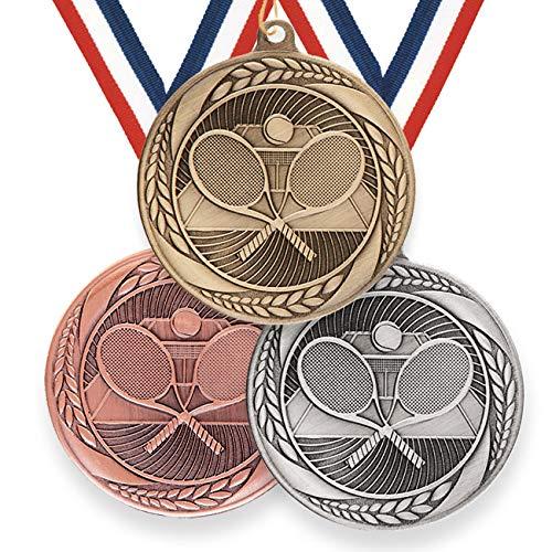 Trophy Monster Typhoon Series Medalla de tenis con cinta de hierro estampado de 55 mm | oro, plata o bronce