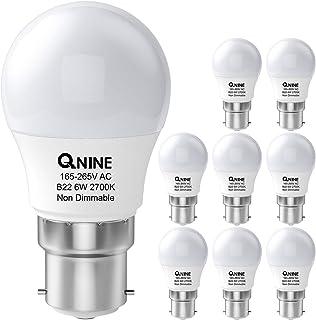 QNINE 8-Pack Warm White Bayonet Light Bulb, 6W (60W Equivalent), B22 LED Golf Ball Bulb, 2700K, Non-Dimmable