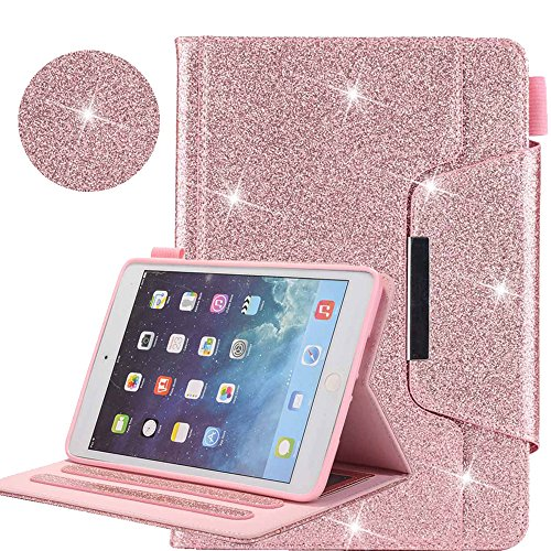 New iPad 9.7 2018 2017/iPad Air 2/iPad Air/iPad Pro 9.7 Case, Business Glitter Premium Leather Folio Wallet Smart Cover [Auto Wake/Sleep] for Apple iPad 9.7 2018 2017/Air 2/Air/Pro 9.7 2016,Rose Gold