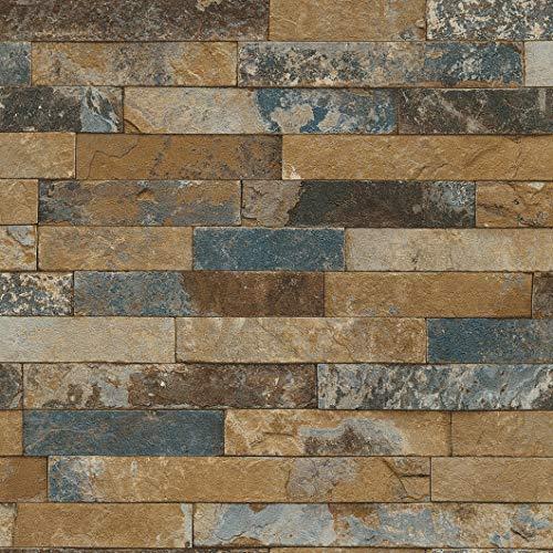 Rasch Tapeten 475104 Vliestapete in brauner Stein-Optik – 10,05m x 53cm (L x B) Vlies Tapete Rasch Kollektion Factory III, 10,05 x 0,53