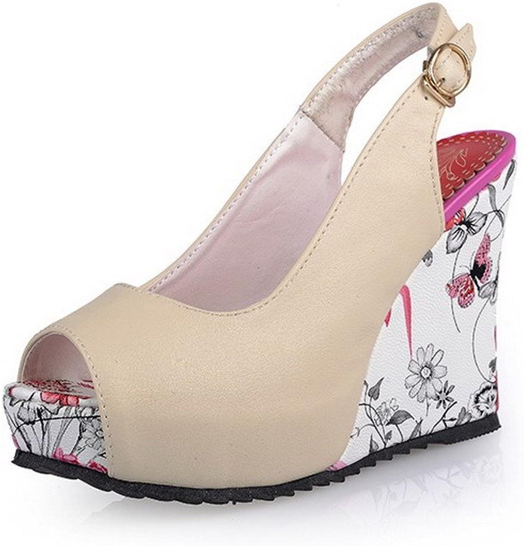 AllhqFashion Women's Peep Toe Metal PU Solid High-Heels Sandals