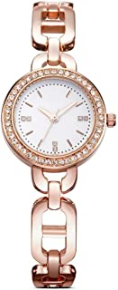 Waterproof Watch Gold Flatware Woman Girl Lady Diamond Ultra-Thin 8mm Quartz Watch 26mm Stainless Steel Strap Fashion Waterproof 30 Meter 3ATM (Color : Gold)