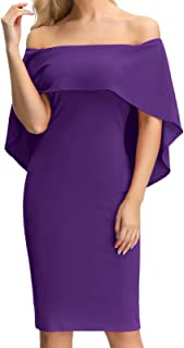 Women's Off Shoulder Cocktail Party Dresses Batwing Cape Midi Dress