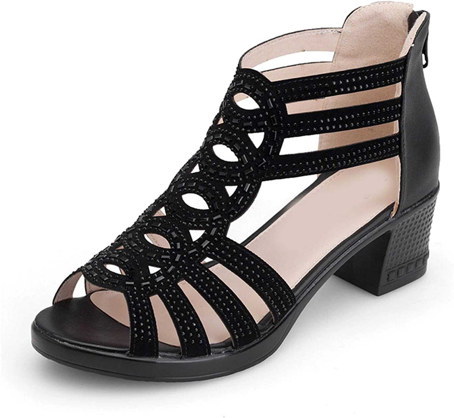Low-Heeled Middle-Aged Women's shoes in Summer Comfortable with Roman shoes Non-Slip Mother Sandals