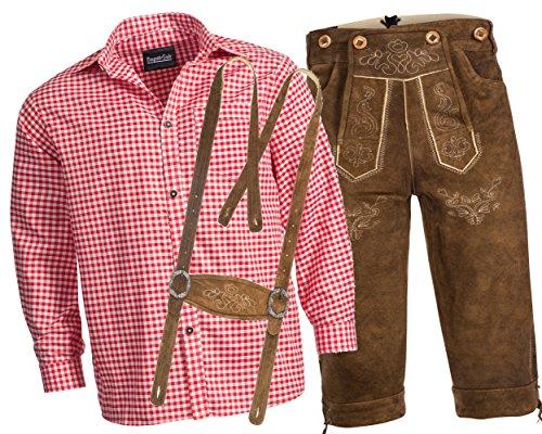 Trachtenlederhose Kniebundhose mit Trägern aus Rindveloursleder rehbraun + Trachtenhemd rot kariert M-52