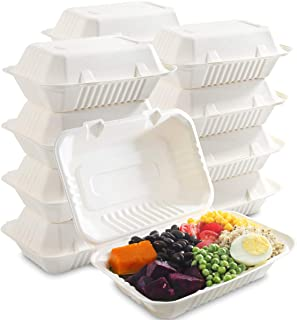 """I00000 100-Pack 100% Compostable Food Containers, Disposable Togo Clamshell Containers with lid, Biodegradable Microwave Safe Take Out Lunch Boxes, Made from Renewable Materials (9X6"""")"""