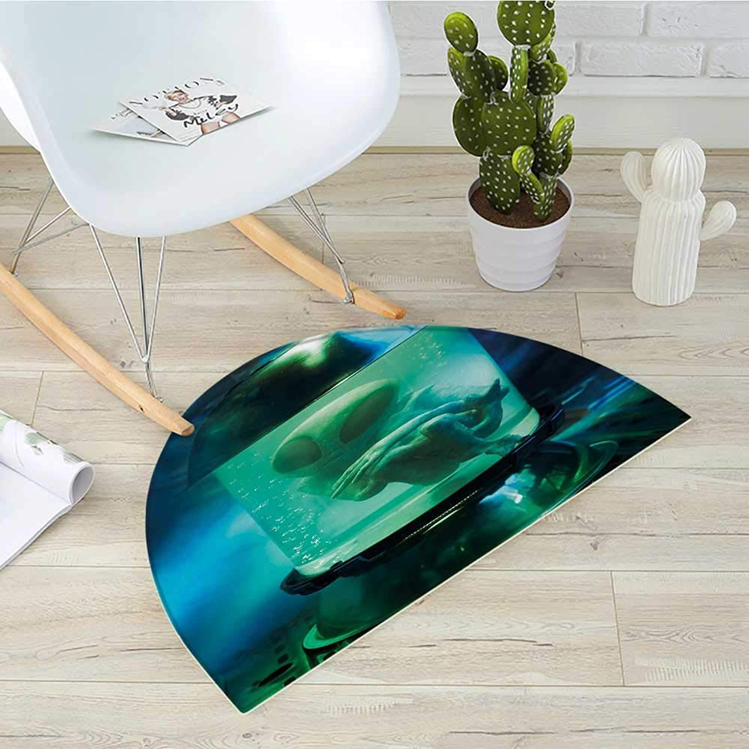 Outer Space Semicircle Doormat Martian UFO Alien in a Aquarium Like Tube Artwork Image Halfmoon doormats H 39.3  xD 59  bluee Sky bluee and Light Green