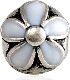 White Darling Daisies Clip Charm Genuine 925 Sterling Silver Flower Clip Lock Stopper Charm Fit DIY Bracelets