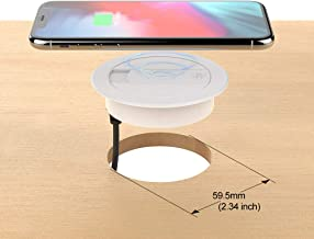 Qi Wireless Desk Charger,DDJ 10W Power Groment Charging Fast Desktop Pad with 1 USB for i Phone XR,XS,Max,X,Samsung Galaxy S9/S8/S8+/Note 8 (White)