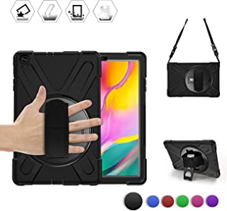 BRAECN Galaxy Tab A 10.1 2019 Case, Heavy Duty Shockproof Rugged Case with 360 Degree Rotating Hand Strap/Stand and Shoulder Strap for Samsung Tab A 10.1 SM-T510/T515 2019 Model-Kids Student (Black)