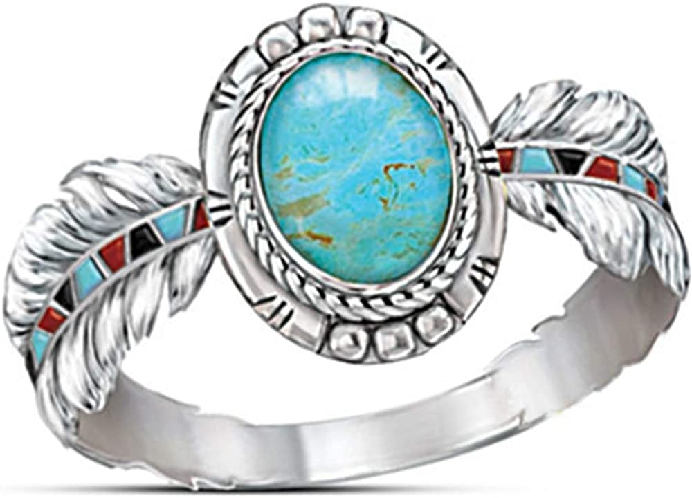 Jude Jewelers Retro Vintage Round Cut Turquoise Feather Angel Wing Style Cocktail Party Statement Ring
