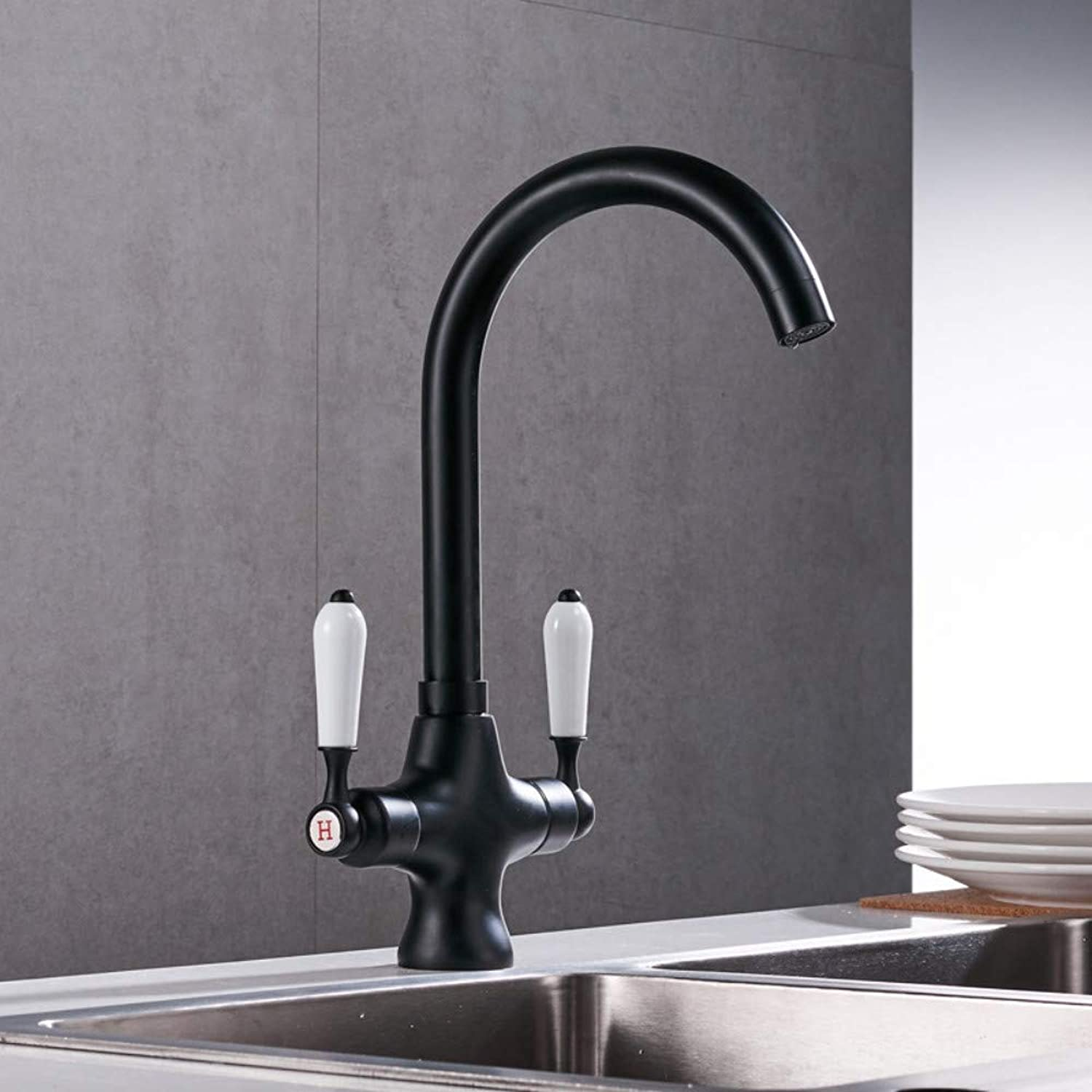 Brass Black Ceramic Double Handle Hot and Cold Faucet Modern Sitting Kitchen Sink Mixer