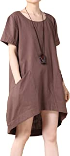 Women's Cotton Linen Tunic Tops Hi-Low Dresses with Pockets