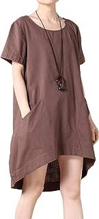 Women's Cotton Linen Tunic Tops Hi-Low Dresses with Pockets