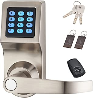 HAIFUAN Digital Door Lock,Unlock with Remote Control, M1 Card, Code and Key,Handle..