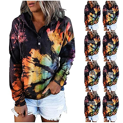 WOCACHI Tie Dye Hoodies For Womens, Button-down Letter Print Drawstring Casual Fashion Pullover Hooded Sweatshirts Zip Up Zipper Crop Plus Size Black White Under 10 Dollars Designs Cute Lightweight