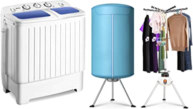Giantex 17.6lbs Portable Washing Machine 900W with Electric Heating Clothes Dryer Ventless Laundry Dryer and Heater for Home and Apartment
