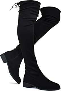 Women's Fashion Comfy Vegan Suede Block Heel Side Zipper Back Lace Thigh High Over The Knee Boots
