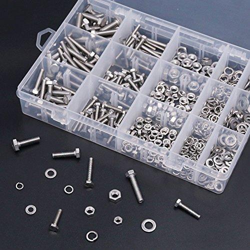 Hilitchi 510Pcs M4 / 5/6 Stainless Steel Metric Hex Flat Head Bolts Screws Nuts Flat and Lock Washers Assortment Kit