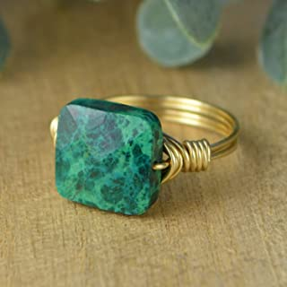 Faceted Green Chrysocolla Square Gemstone Bead and Sterling Silver or Gold Filled Wire Wrapped Ring- Made to size 4-14