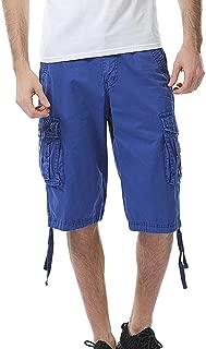 JJLIKER Mens Cargo Shorts Relaxed Fit Multi-Pocket Summer Outdoor Wear Cotton Big & Tall SizesHalf Pants Lightweight