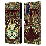 Head Case Designs Gatito Caras Animales Aztecas Carcasa de Cuero Tipo Libro Compatible con OPPO A72