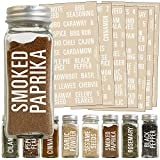 Talented Kitchen 134 White All Caps Spice Label Set: 134 Spice Names + Numbers. White Letters on Clear Sticker Water Resistant for Spice Jars Organization Spice Rack System (134 ALL CAPS SPICE LABELS)